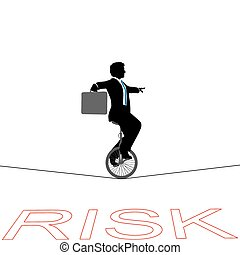 Business man unicycle tightrope over financial risk -...