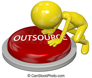 Business person cartoon push OUTSOURCE button concept -...