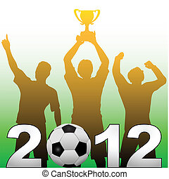 Football players celebrate 2012 season soccer victory -...