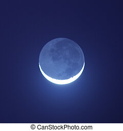 Blue moon shining in the night