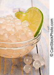 ingredientes, perlas,  tapioca, té, cal, burbuja, blanco
