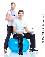 Gym, Fitness, healthy lifestyle - Young healthy fitness...