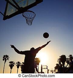 basquetebol, jogador, silueta, pôr do sol