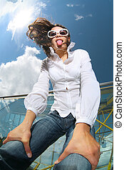 Fun girl - Fun wide angle portrait of young woman in blue...