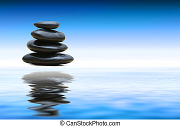 Zen stones over water - Beautiful Blue Water And Sky...