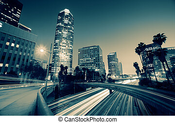 Freeway traffic in downtown Los Angeles