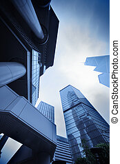 Modern urban architecture. Skyscrapers in Hong Kong, China.