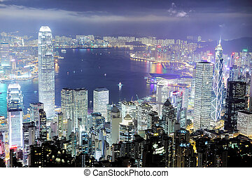 Hong Kong skyline - Hong Kong central district skyline and...