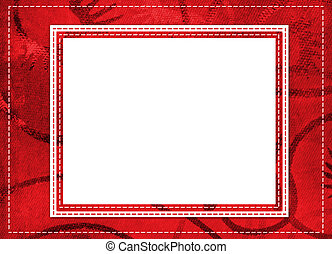 Red card for greeting in style retro with thread