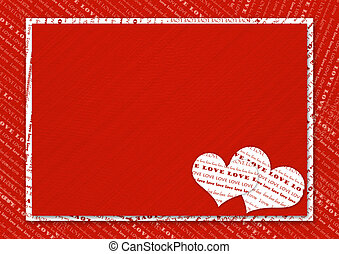 Valentines day card with hearts on the abstract red...