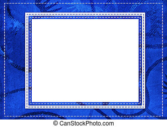 Blue card for greeting in style retro with thread