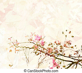 Pink Blossom Digital Painting Background