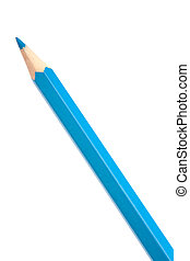 Blue colouring crayon pencil isolated on white background
