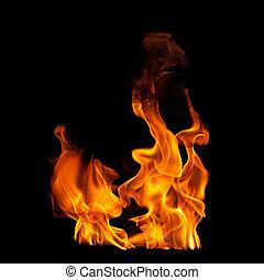 Flammes, noir, photographique, fond