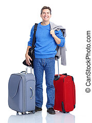 Man - Handsome tourist man smiling. Isolated over white...