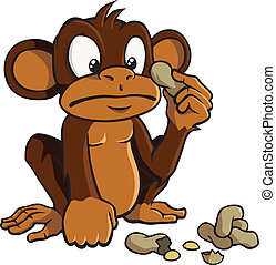 Cartoon monkey with peanuts - Cute cartoon monkey looking...