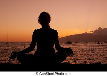 Lotus Yoga Pose in Sunset