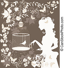 Vintage girl and bird - Vintage background with flowers,...
