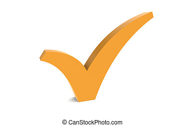 Check Mark Orange - A Check Mark Orange isolated on white...