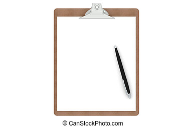 Clipboard with a blank paper and pen, isolated on white