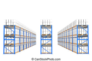 Warehouse Shelves, Front view Part of a Blue Warehouse and...