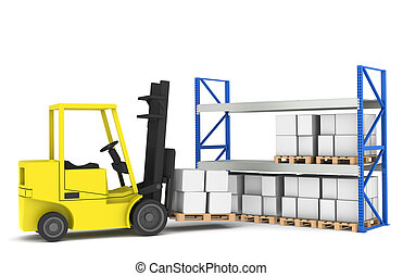 Forklift and shelves. Forklift loading Pallet Rack.Part of a...