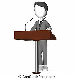 3D Human holding a Speech. Standing at a Rostrum.