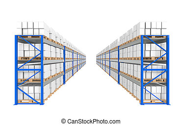 Warehouse Shelves 2 rows Part of a Blue Warehouse and...
