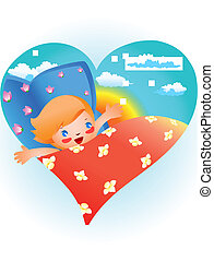 Child in bed - This is cheerful child lying in bed