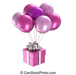 3d purple ballons - 3d model purple ballons on white...
