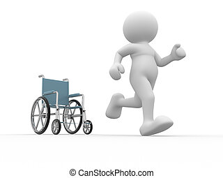 Wheelchair. - 3d people- human character running from...