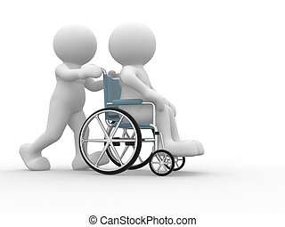 Wheelchair. - 3d people human character in a wheelchair....