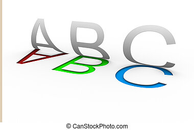 """Abc"" letters on white background - This is a 3d render..."