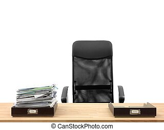 Business Admin - In and out office trays in an office...