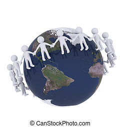 3D man around the globe