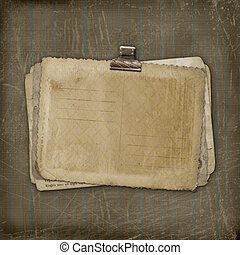 Grunge papers design in scrapbooking style on the striped background