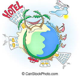 elements-of-travel - Vector illustration of planet with...
