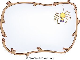 wooden frame with spider