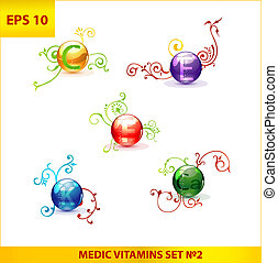 shiny and colored medic vitamin capsules pills set