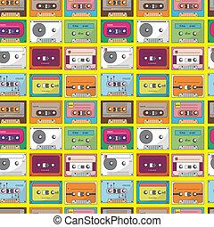 music tape seamless pattern