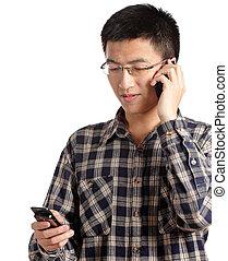 man talking on mobile phone