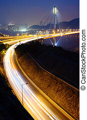highway and Ting Kau bridge at night