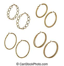 set of golden earrings isolated on white