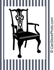 Antique chair - Black chair silhouette on grey - white...