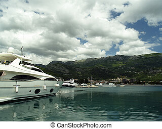 Yacht in harbor - Luxury motor yacht moored in harbor...