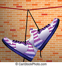 hanging shoes over wall background, abstract vector art...