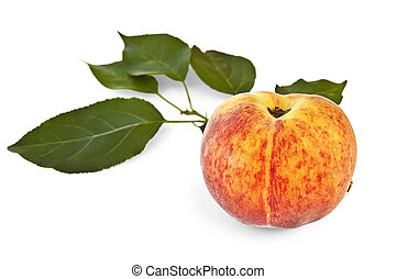 Peach with green leaves