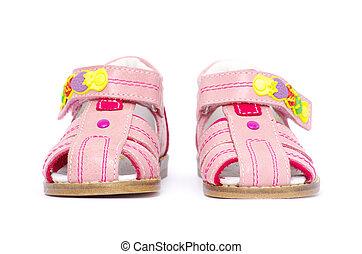 pink child's sandals