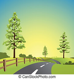 Country Landscape - A Country Landscape with Road and Trees