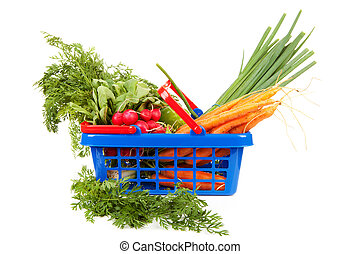 Shopping basket filled with healthy vegetables